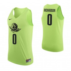 Oregon Ducks #0 Will Richardson Authentic Apple Green Jersey