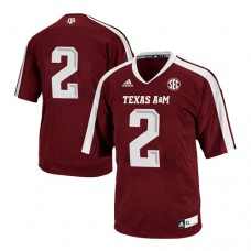 Kid's Texas A&M Aggies #2 Johnny Manziel Red With SEC Patch Authentic College Football Jersey