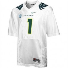 Oregon Ducks #1 Fan White With PAC-12 Patch Authentic College Football Jersey