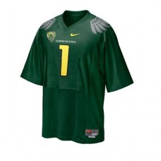 Oregon Ducks #1 Fan Green With PAC-12 Patch Authentic College Football Jersey
