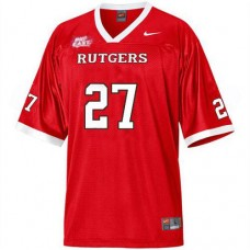Rutgers Scarlet Knights #27 Ray Rice Red With Big East Patch Authentic College Football Jersey