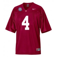 Alabama Crimson Tide #4 Marquis Maze Red Replica With 2012 BCS Championship Patch College Football Jersey