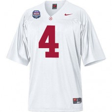 Alabama Crimson Tide #4 Mark Barron White Authentic With 2012 BCS Championship Patch College Football Jersey