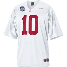 Alabama Crimson Tide #10 AJ McCarron White Authentic With 2012 BCS Championship Patch College Football Jersey