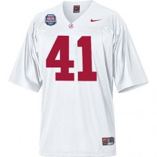 Alabama Crimson Tide #41 Courtney Upshaw White Authentic With 2012 BCS Championship Patch College Football Jersey