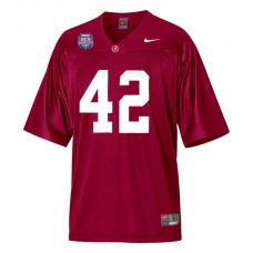 Alabama Crimson Tide #42 Eddie Lacy Red Authentic With 2012 BCS Championship Patch College Football Jersey