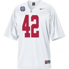 Alabama Crimson Tide #42 Eddie Lacy White Authentic With 2012 BCS Championship Patch College Football Jersey