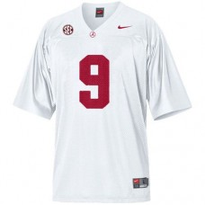 Kid's Alabama Crimson Tide #9 Amari Cooper White With SEC Patch Replica College Football Jersey
