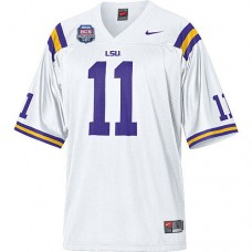 LSU Tigers #11 Spencer Ware White Replica With 2012 BCS Championship Patch College Football Jersey
