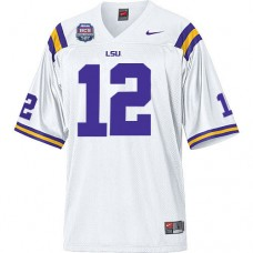 LSU Tigers #12 Jarrett Lee White Authentic College Football With 2012 BCS Championship Patch Jersey