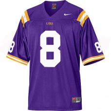 Kid's LSU Tigers #8 Zach Mettenberger Purple Authentic College Football Jersey