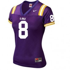 Women's LSU Tigers #8 Zach Mettenberger Purple Replica College Football Jersey