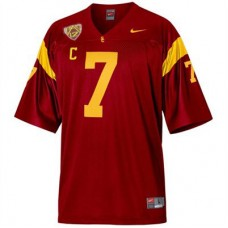 Kid's USC Trojans #7 Matt Barkley Red With PAC-12 C Patch Replica College Football Jersey
