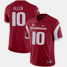 Arkansas Razorbacks #10 Brandon Allen Cardinal College Football GAME Jersey