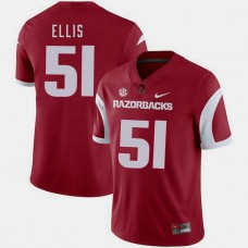 Arkansas Razorbacks #51 Brooks Ellis Cardinal College Football GAME Jersey