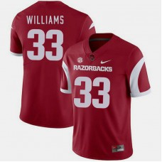 Arkansas Razorbacks #33 David Williams Cardinal College Football GAME Jersey