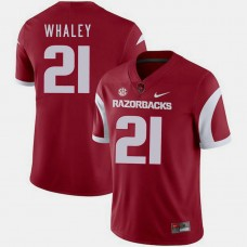 Arkansas Razorbacks #21 Devwah Whaley Cardinal College Football GAME Jersey