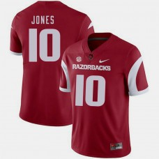 Arkansas Razorbacks #10 Jordan Jones Cardinal College Football GAME Jersey