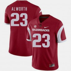 Arkansas Razorbacks #23 Lance Alworth Cardinal College Football GAME Jersey