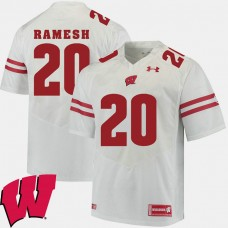 Wisconsin Badgers #20 Austin Ramesh White College Football GAME Jersey