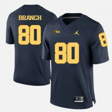 Michigan Wolverines #80 Alan Branch Navy Blue College Football Jersey
