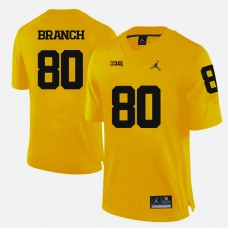 Michigan Wolverines #80 Alan Branch Yellow College Football Jersey
