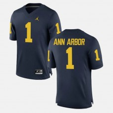 Michigan Wolverines #1 Ann Arbor Navy College Football GAME Jersey