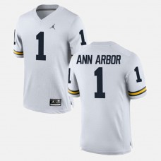 Michigan Wolverines #1 Ann Arbor White College Football GAME Jersey