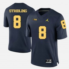 Michigan Wolverines #8 Channing Stribling Navy Blue College Football Jersey