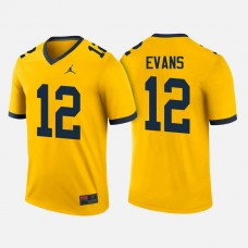 Michigan Wolverines #12 Chris Evans Maize College Football Jersey