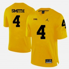 Michigan Wolverines #4 De'Veon Smith Yellow College Football Jersey
