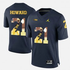 Michigan Wolverines #21 Desmond Howard Navy Blue College Football Jersey