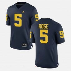 Michigan Wolverines #5 Jalen Rose Navy College Football GAME Jersey