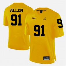 Michigan Wolverines #91 Kenny Allen Yellow College Football Jersey