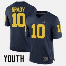 YOUTH - Michigan Wolverines #10 Tom Brady Navy College Football GAME Jersey