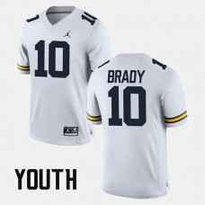 YOUTH - Michigan Wolverines #10 Tom Brady White College Football GAME Jersey