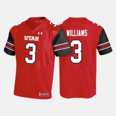 Utah Utes #3 Troy Williams Red College Football Jersey