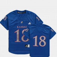 YOUTH - Kansas Jayhawks #18 Royal College Football Jersey